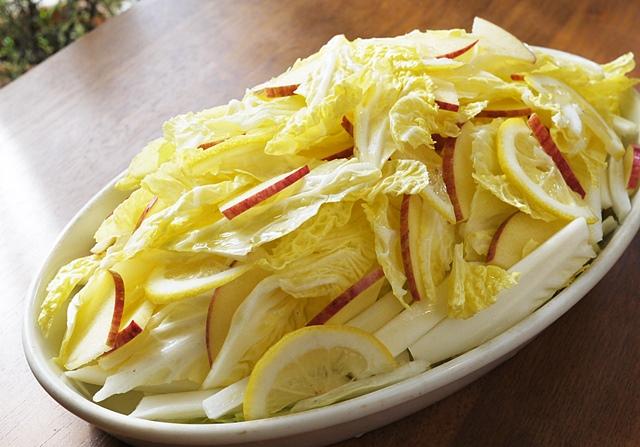 雪下白菜のサラダ 甘いので生もOK